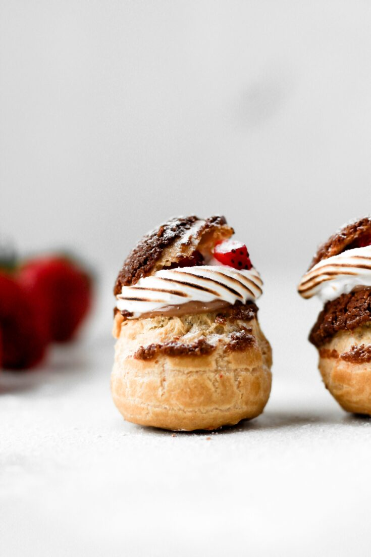 strawberry nutella cream puff with toasted meringue