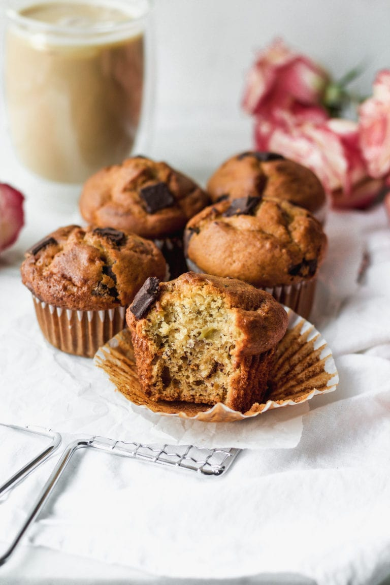 banana chocolate chip muffins with a bite taken out