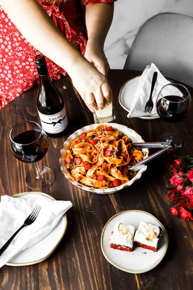 Date night in with bolognese and red velvet sheet cake
