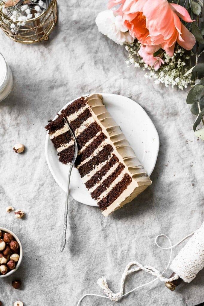 slice of 8-layer chocolate espresso cake