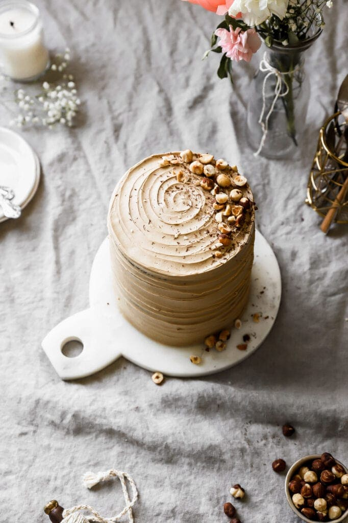 chocolate layer cake with coffee swiss meringue buttercream