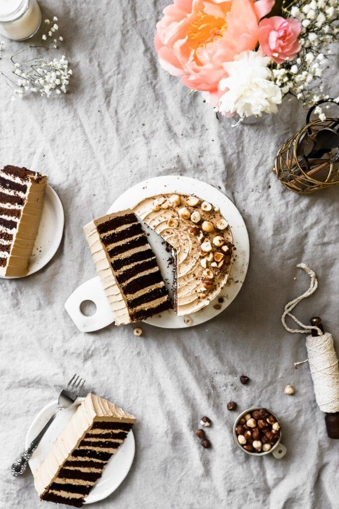 chocolate cake with coffee swiss meringue buttercream
