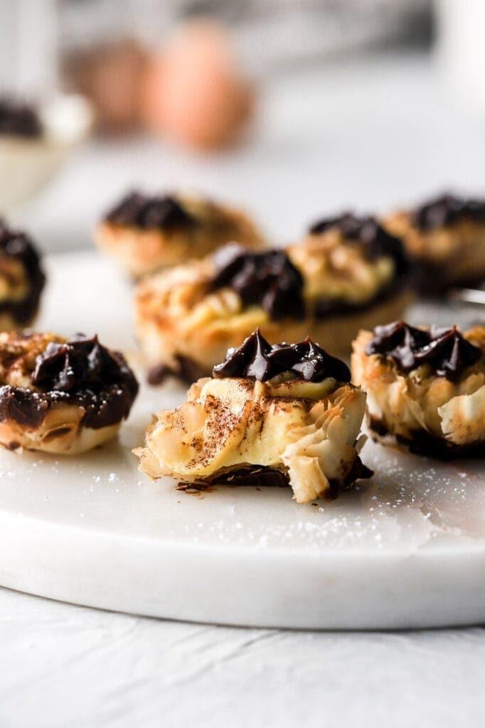 bite of mini vanilla custard pie