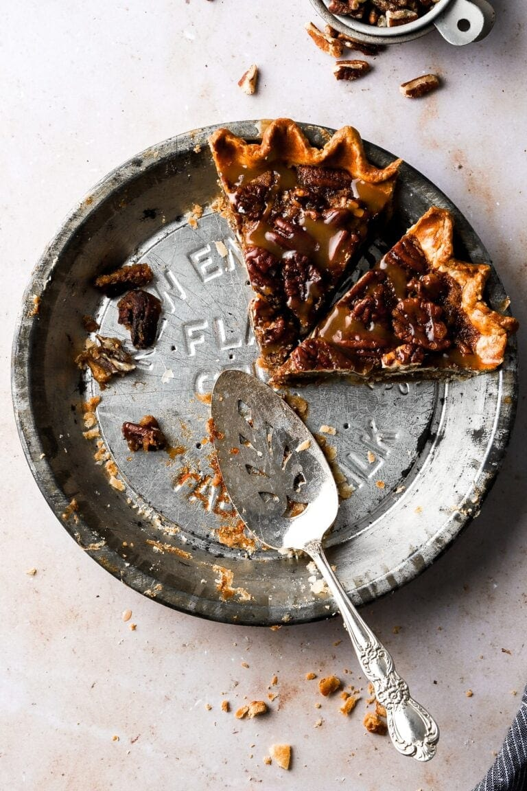 caramel pecan pie, two slices
