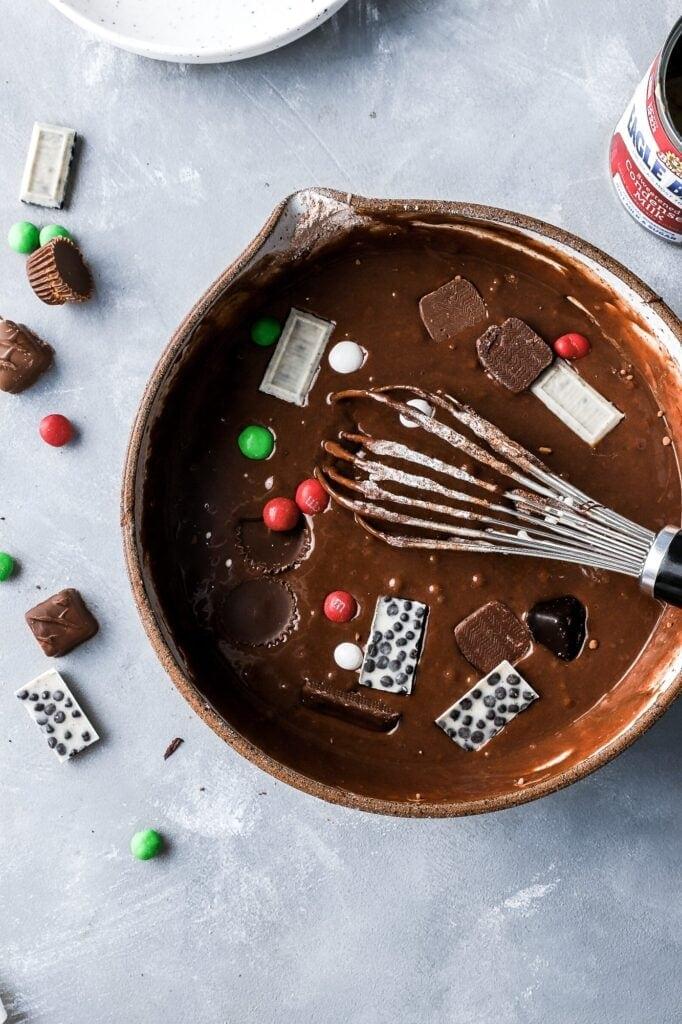 fold in chocolate bars
