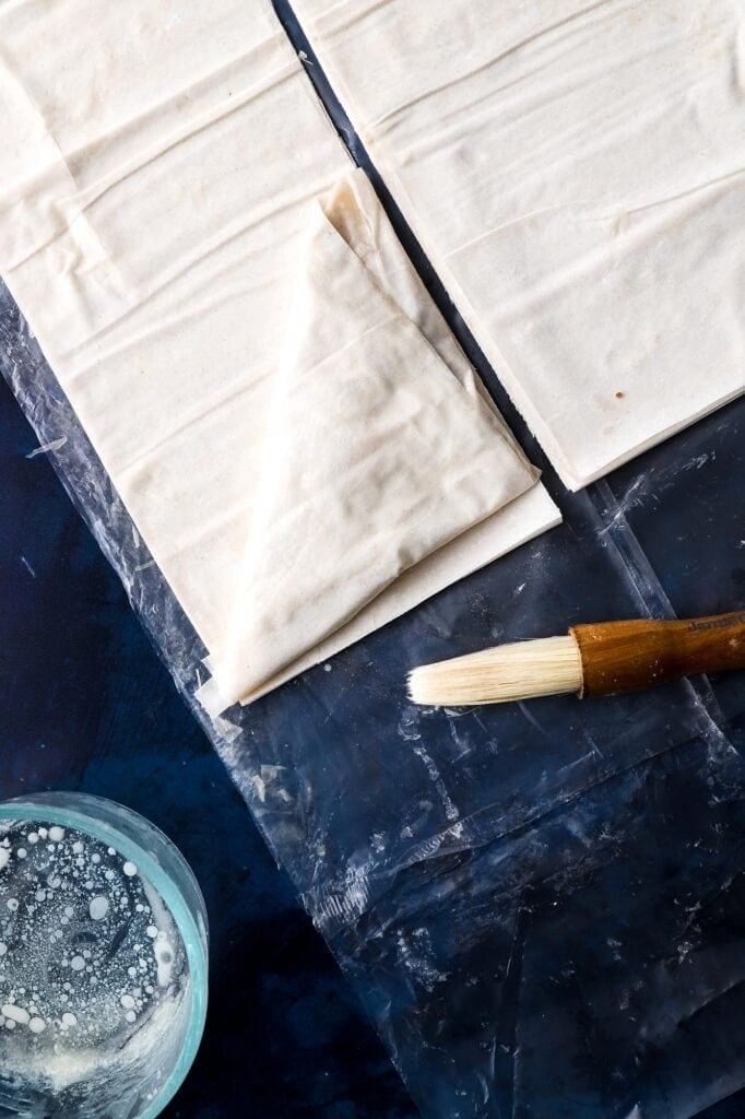 folding the phyllo dough sheets