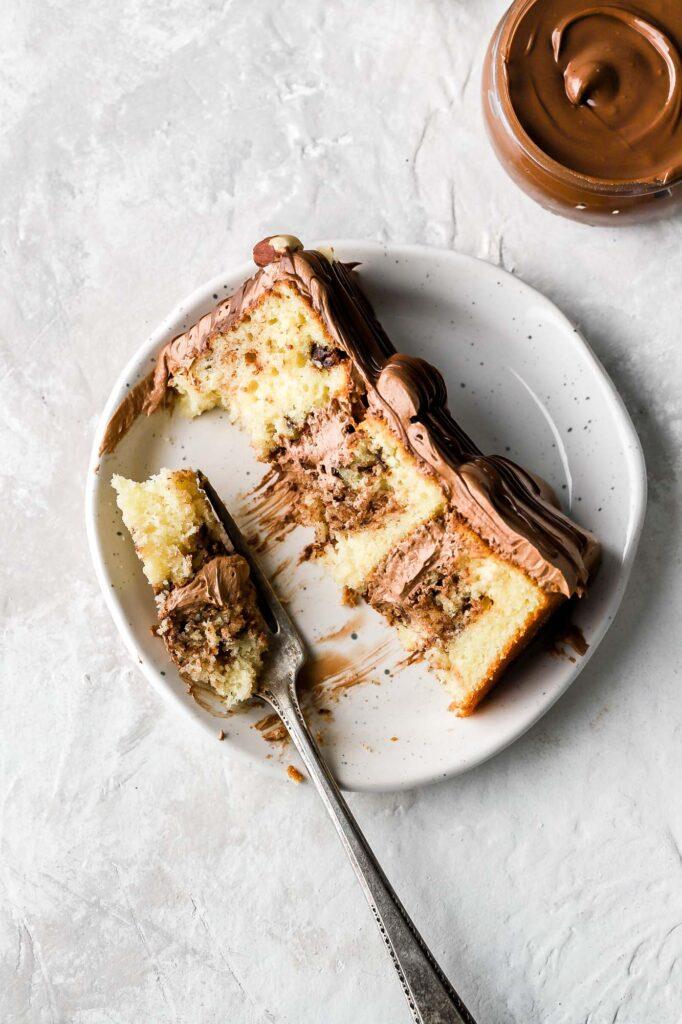 nutella cake slice
