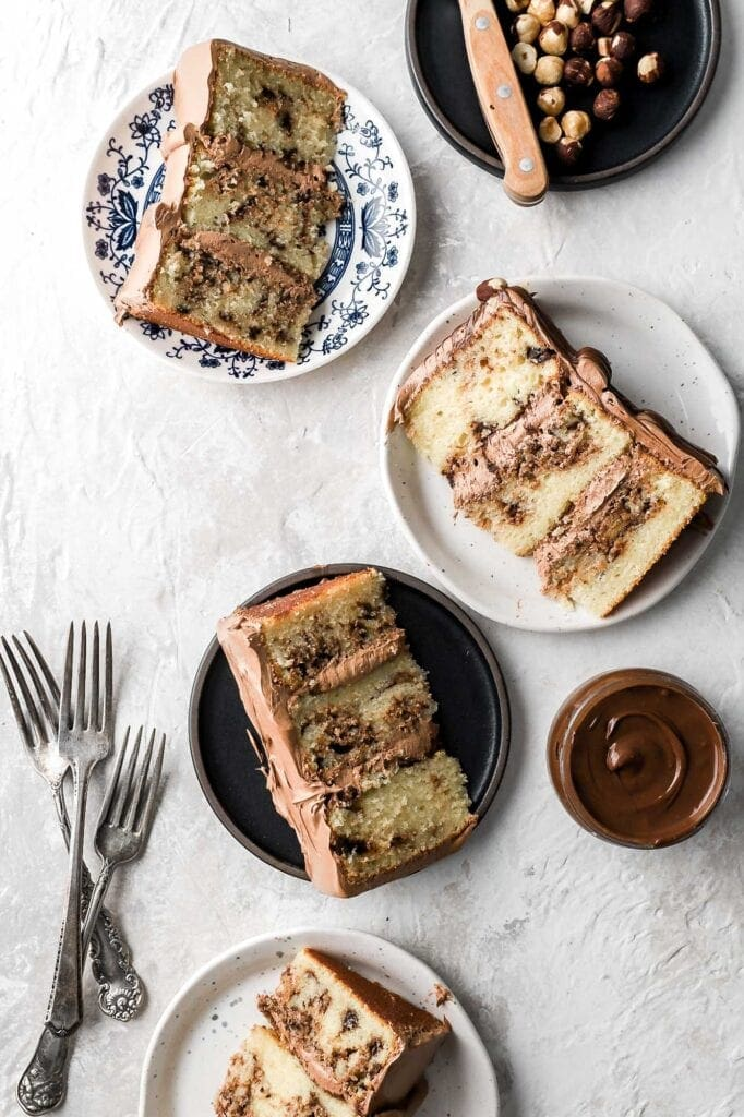 nutella cake, inside slices