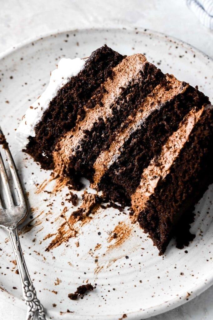 chocolate mousse cake, close up
