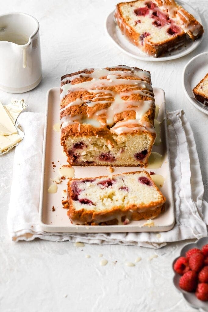 white chocolate and raspberry loaf cake