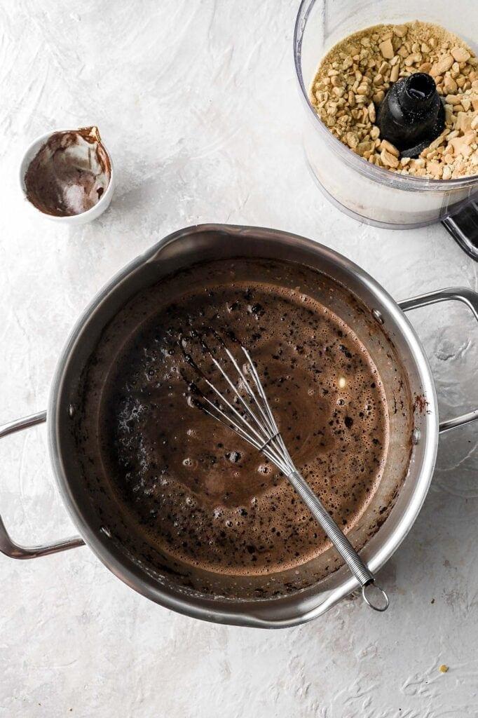 add cocoa powder, butter, salt and espresso