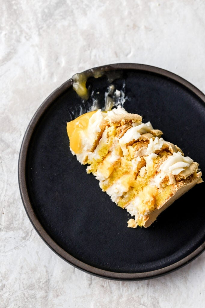 macaron cake with cream cheese frosting and lemon curd