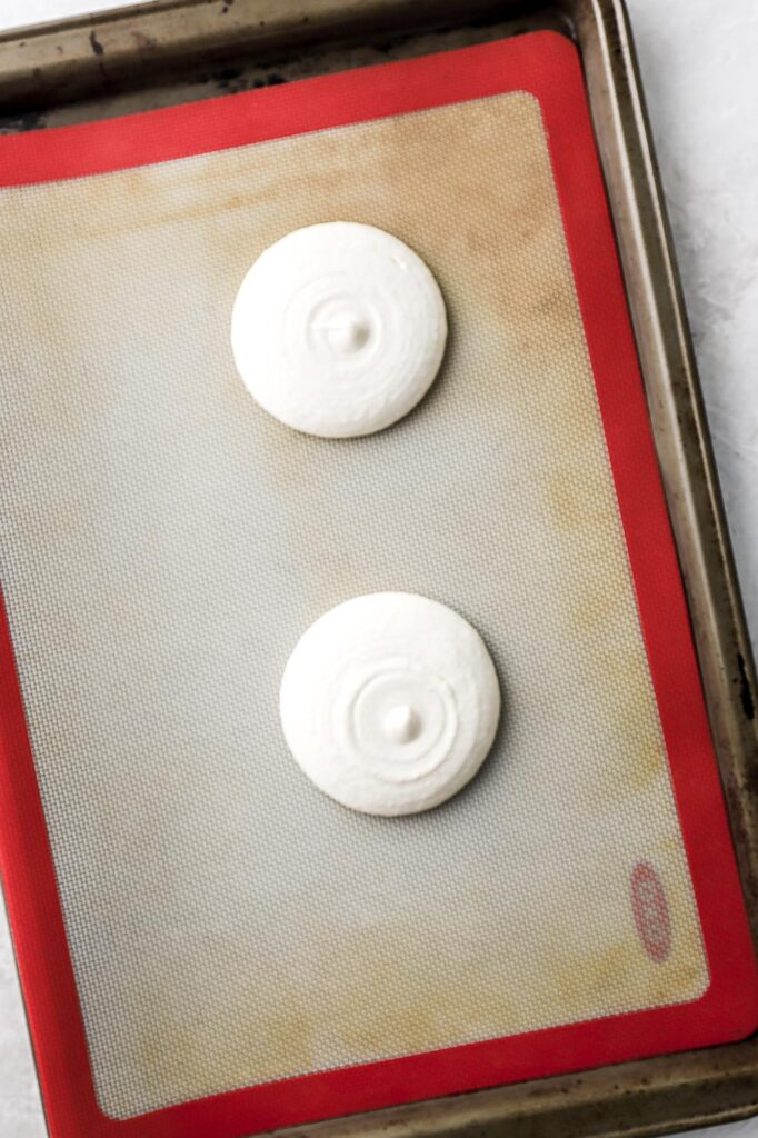 macaron batter before banging on the counter