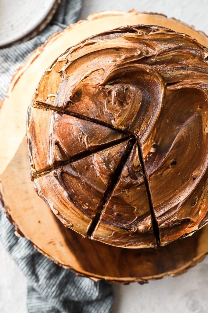 chocolate chip peanut butter banana cake sliced, overhead shot