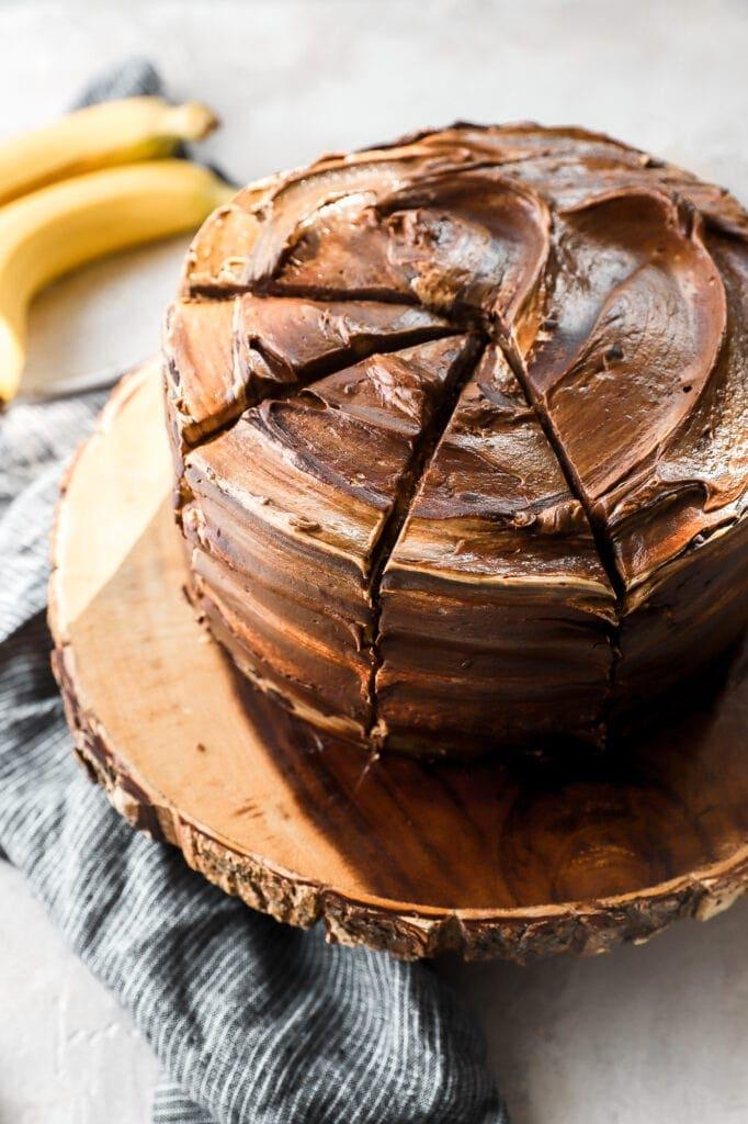 chocolate chip peanut butter banana cake sliced, angled shot