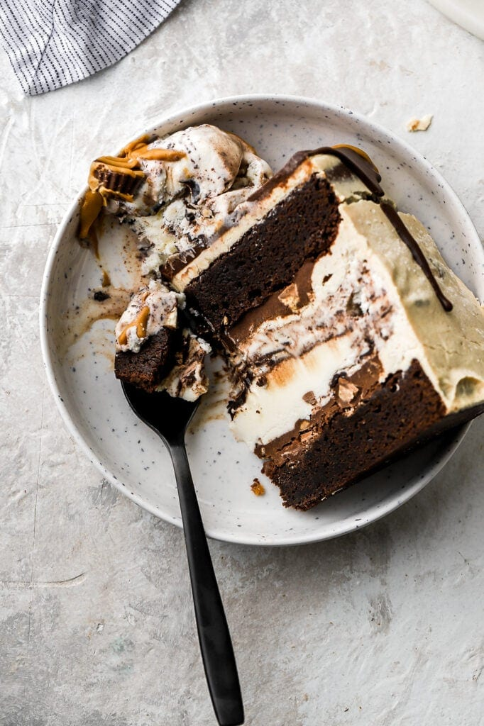 slice of cake with spoon and a bite